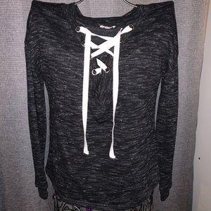 Super cute dark heather grey sweater shirt